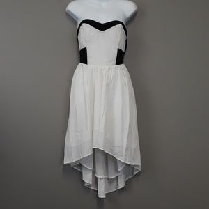 Lush White Black Cut Out back Strapless Dress